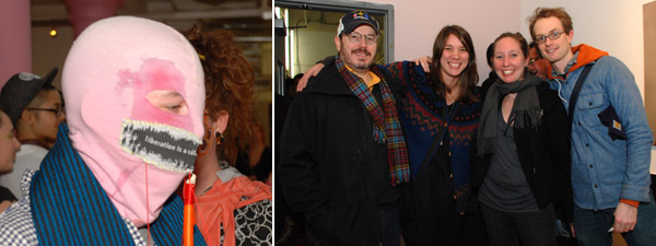 Left: A benefit participant. Right: Artists Lucky DeBellevue, Marlo Pascual, Kimberly Brandt, and Walsh Hansen.
