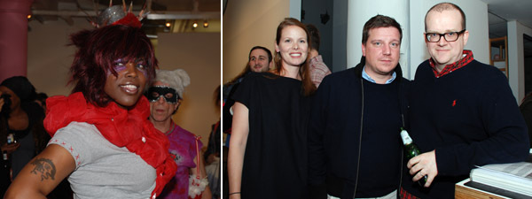 Left: Silvia Rivera Law Project's June Brown. Right: White Columns curator Amie Scally with Kunstverein Munich director Stefan Kalmar and Matthew Higgs.