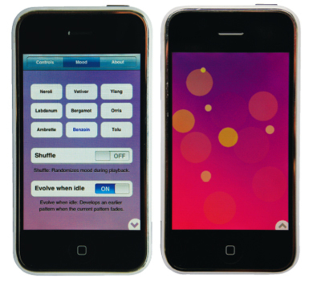 Menu screen (left) and user interface (right) for Brian Eno and Peter Chilvers's iPhone application Bloom.