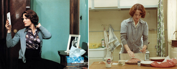 Chantal Akerman, Jeanne Dielman, 23 Quai du Commerce, 1080 Bruxelles, 1975, stills from a color film in 35 mm, 201 minutes. Left and right: Jeanne Dielman (Delphine Seyrig).