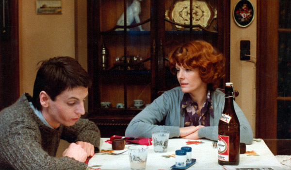Chantal Akerman, Jeanne Dielman, 23 Quai du Commerce, 1080 Bruxelles (detail), 1975, still from a color film in 35 mm, 201 minutes. Sylvain Dielman and Jeanne Dielman (Jan Decorte and Delphine Seyrig).