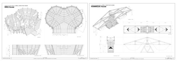 Left: Atelier Bow-Wow, Small Case Study House (BBQ House), 2009, architectural drawing. Right: Atelier Bow-Wow, Small Case Study House (Hammock House), 2009, architectural drawing.