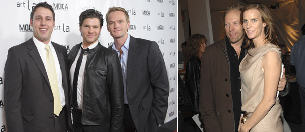 Left: Art LA director Tim Fleming with David Burtka and Neil Patrick Harris. (Photo: Getty Images) Right: Andrew Taylor with Rachel Griffiths. (Photos: Andreas Branch/Patrick McMullan)