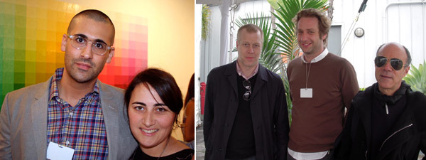 Left: Dealer David Kordansky with director Natasha Garcia-Lomas. Right: Daniel Hug, director of Art Cologne, with dealers Joel Mesler and Marc Foxx. (Except where noted, all photos: Brian Bress)