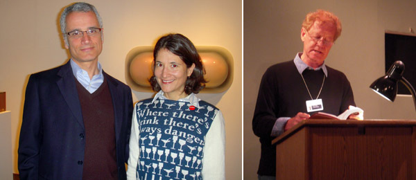 Left: Getty Research Institute curator Louis Marchesano and artist Lisa Anne Auerbach. Right: Writer Richard Hertz.