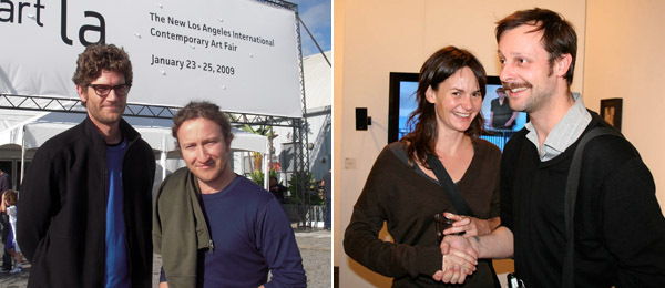 Left: Artists Christopher Wilde and Ephraim Puusemp. Right: Heather with artist Leigh Ledare.