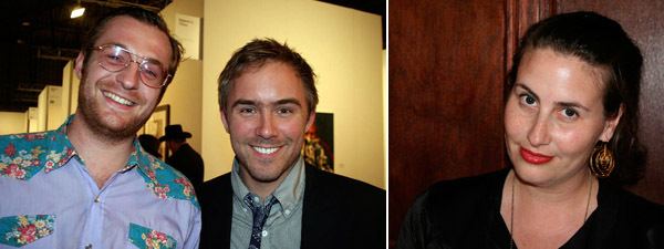 Left: Artists Jesse Willenbring and Justin Beal. Right: LAXART director Lauri Firstenberg.