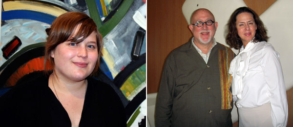 Left: Dealer Erica Redling. Right: Collector Robert Shimschak and Michael Kohn director Samantha Glaser.