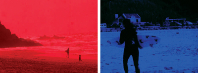 "*Amy Granat and Emily Sundblad, _Surf_, 2008*, stills from a color film in 16 mm, 6 minutes. From the series ""Lisbon Films,"" 2008."