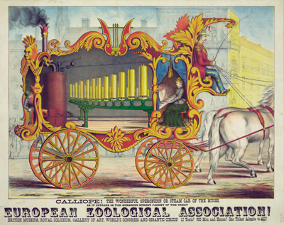 *Lithograph of a circus poster showing a calliope by Gibson & Co., 1872*