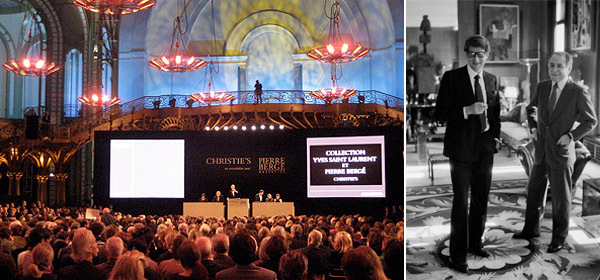 Left: The scene at the Grand Palais. (Photo: Lillian Davies) Right: Yves Saint Laurent and Pierre Bergé.
