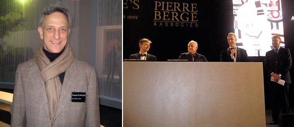 Left: Francois de Ricqlès, Christie's vice president France. Right: Ricqlès (third from left) with others during the YSL/Bergé sale. (Photos: Lillian Davies)