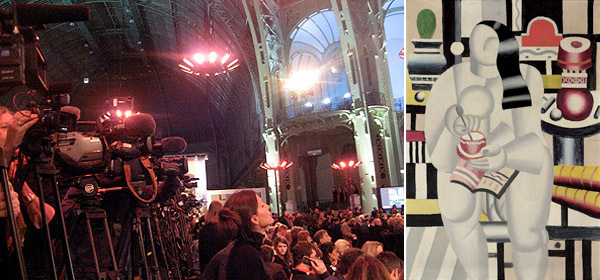 Left: The scene at the Grand Palais. (Photo: Lillian Davies) Right: Fernand Léger, La Tasse de thé, 1921.