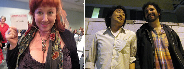 Left: Artist Annie Sprinkle. Right: Critic James Bae and Paper Monument editor Dushko Petrovich.