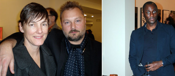 Left: Dealer Sadie Coles with artist Juergen Teller. Right: ICA artistic director Ekow Eshun.