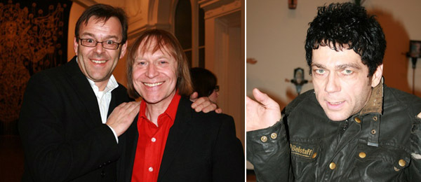 "Left: Artist Wim Delvoye with ""Mythologies"" co-curator James Putnam. Right: Artist Tim Noble."