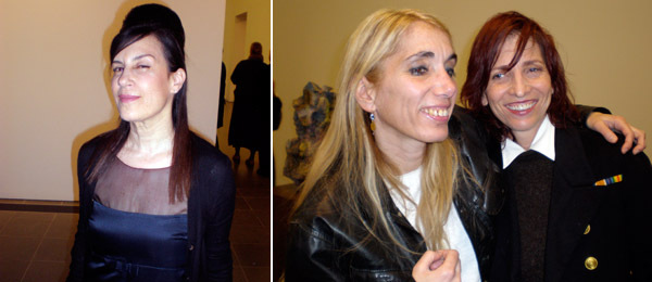 Left: Dealer Maureen Paley. Right: Artists Ellen Cantor with writer and performer Laurie Weeks.