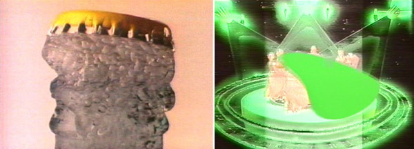 Left: George Barber, Schweppes Ad, 1993, still from a color video, 4 minutes. Right: George Barber, Tilt, 1983, still from a color video, 5 minutes.