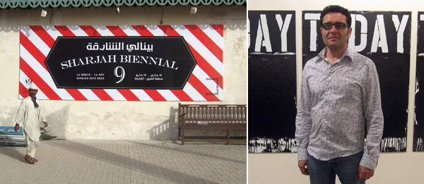 Left: A sign for the Sharjah Biennial. Right: Sharjah Biennial artistic director Jack Persekian.