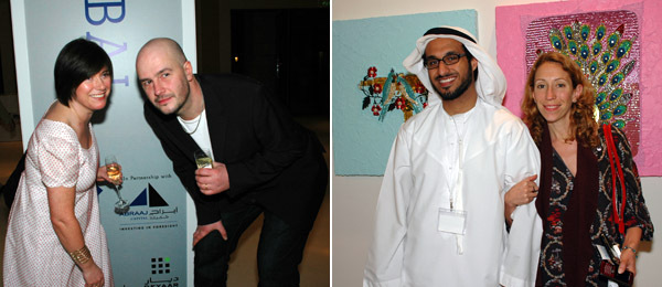 Left: Artists Jane Wilson and Jake Chapman. Right: Shelter's Rashid bin Shabib with Third Line director Claudia Cellini.