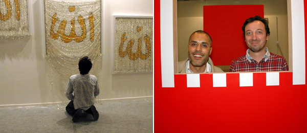 Left: Artist Farhad Moshiri. Right: Dealers Kamel Mennour and Emmanuel Perrotin.