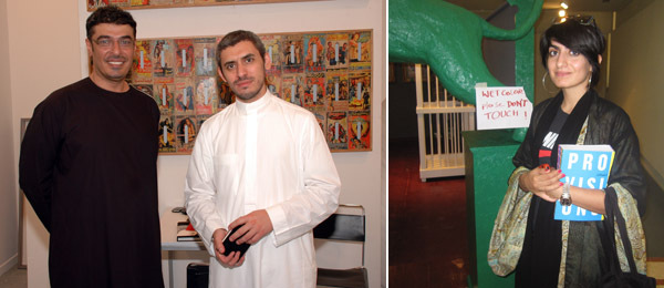 Left: Athr Gallery's Hamza Saleh Serafi and Mohammed Hafiz. Right: Artist Lamya Gargash.