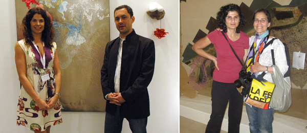Left: Dealers Wendi Norris and Raman Frey. Right: Artists Doris Bittar and Samira Badran.