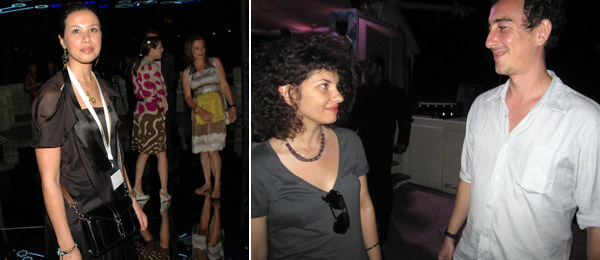 Left: Artist Zoulikha Bouabdellah. Right: Artists Farida El Gazzar and Yiannis Hadhiaslanis.