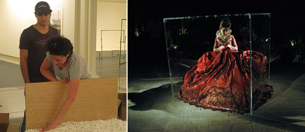 Left: Artist Lara Favaretto. Right: Sara Fara in Kirstie MacLeod's performance Barocco.