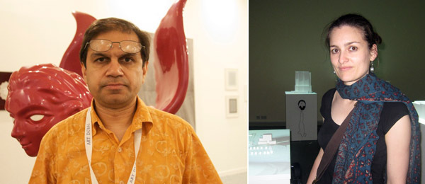 Left: Green Cardamon gallery's Vipul Sangoi. (Photo: Helen During) Right: Artist Sophie Ernst.