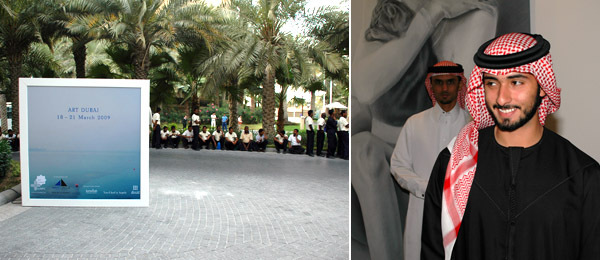 Left: Outside Art Dubai. Right: Sheikh Majid bin Mohammad bin Rashid al-Maktoum, chairman of the Dubai culture and arts authority.