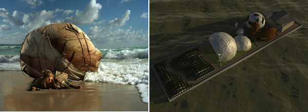 "Left: Mary Mattingly, Inflatable Home, 2008, color photograph, 40 x 50"". Right: James Halverson/Lux Visual Effects, The Waterpod, 2009, three-dimensional rendering, 30 x 40""."