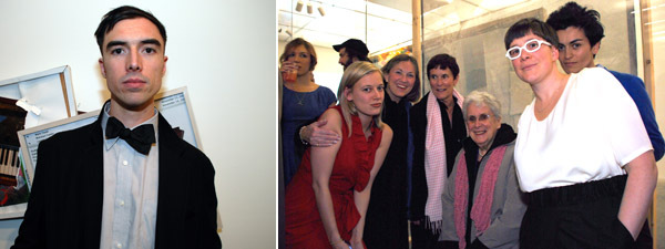 "Left: Artist Brendan Fowler. Right: ""Generational"" cocurator Lauren Cornell (left) with the Roysdon family and artist Emily Roysdon and Lawen Mohtadi."