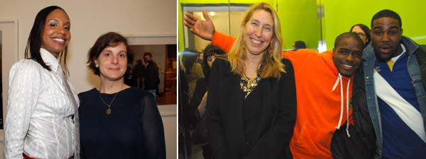 "Left: Artist LaToya Ruby Frazier with ""Generational"" cocurator Laura Hoptman. Right: New Museum director Lisa Phillips."