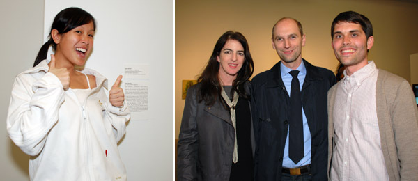 Left: A security guard in Ryan Gander's uniform. Right: Curators Cay Sophie Rabinowitz and Christian Rattemeyer with artist Matt Keegan.