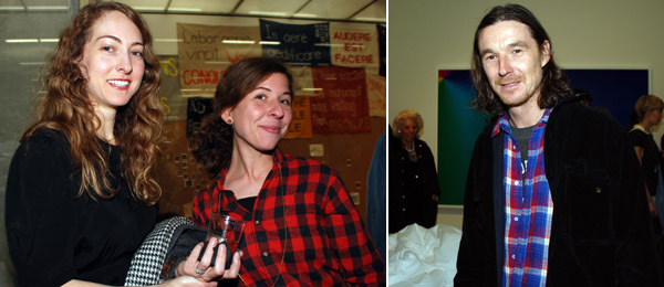 Left: Dealer Kristina Kite with artist Lisa Williamson. Right: Curator Neville Wakefield.