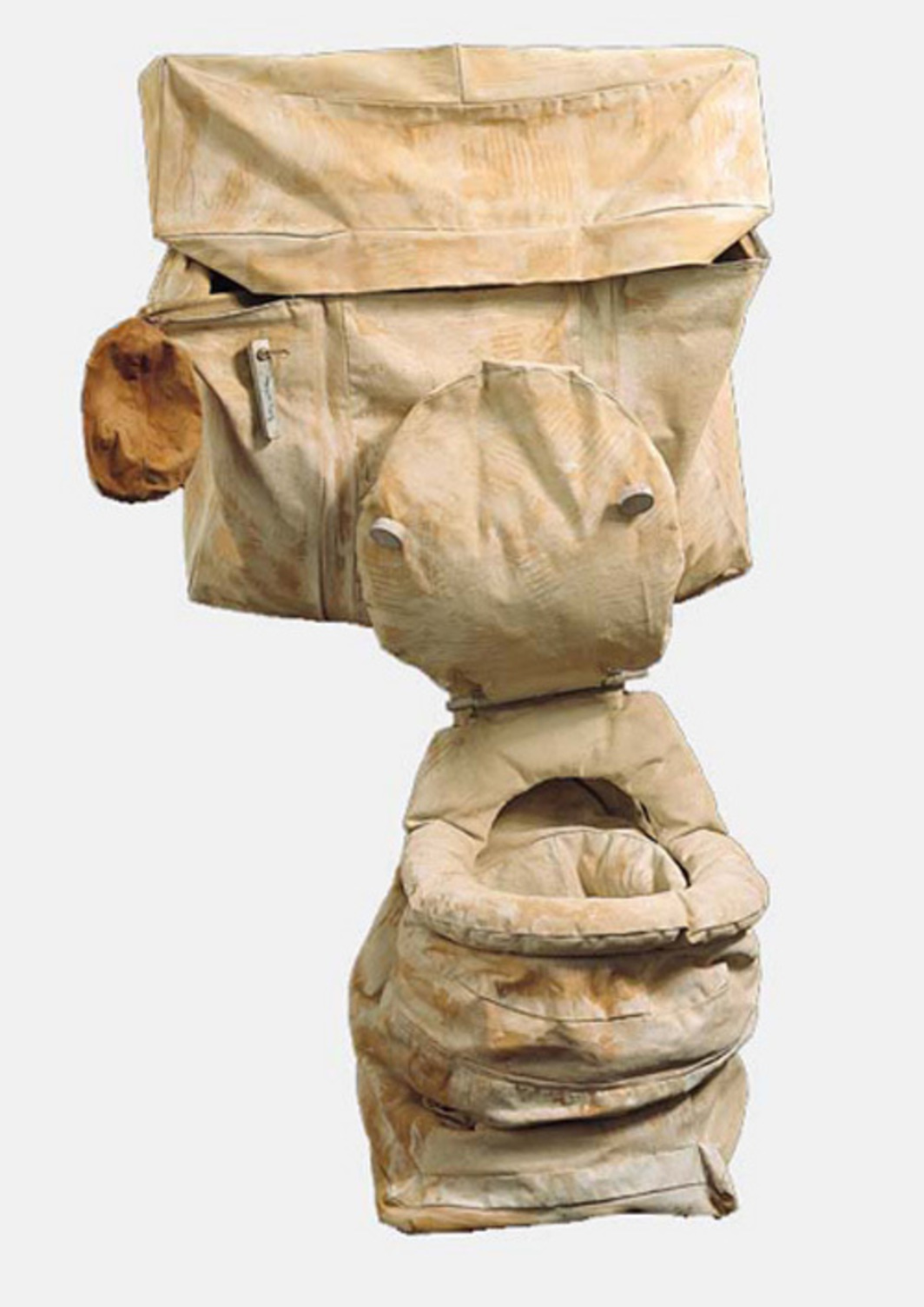 "Claes Oldenburg, Soft Toilet—Ghost Version, 1966, canvas filled with kapok painted with acrylic, on metal, 51 x 33 x 28""."