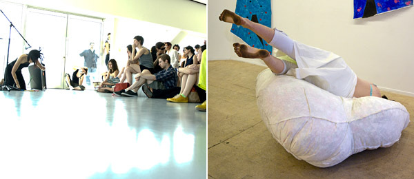 Left: Bora Yoon at the New Museum. Right: Lizzie Scott performing at Rachel Uffner Gallery.