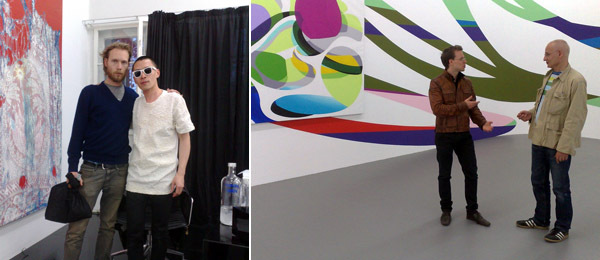 Left: Maxwell Zimmer and artist Terence Koh. Right: Artist Yves Oppenheim and David Ulrich.