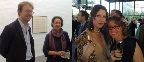 Left: Dealer Martin Klosterfelde and critic Christina Weiss. Right: Collector Valeria Napoleone and artist Rebecca Morris.