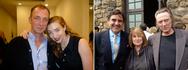 Left: Artists Gary Hume and Rachel Feinstein. Right: Collector Peter Brant with Georgina and Christopher Walken. (All photos: Linda Yablonsky)