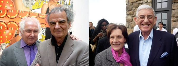 Left: Dealer Tony Shafrazi with photographer Patrick Demarchelier. Right: Collectors Edythe and Eli Broad.