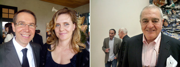 Left: Artist Jeff Koons and Justine Koons. Right: Artists David Salle and Richard Serra and collector Irving Blum.
