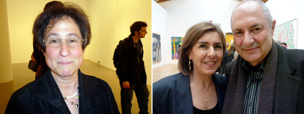 Left: Artist Jessica Stockholder. Right: Collectors Lieta and Dakis Joannou.