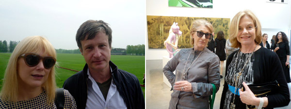 Left: Gina Nanni with artist Donald Baechler. Right: Metro Pictures's Helene Winer and Janelle Reiring.
