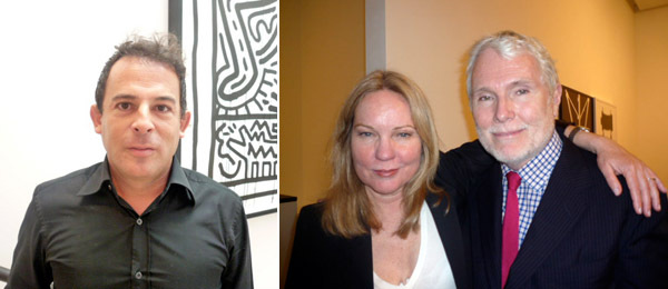 Left: Collector Eugenio López. Right: Artist Sarah Charlesworth with editor Glenn O'Brien.