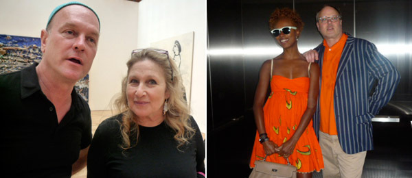 Left: Designer Ricky Clifton and collector Jane Holzer. Right: Shala Monroque and photographer Todd Eberle.