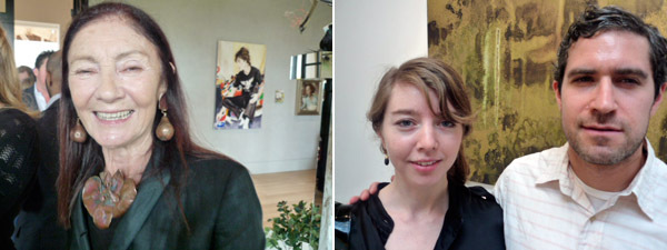 Left: Collector Pauline Karpidas. Right: Reena Spaulings's Emily Sundblad and artist Jonathan Horowitz.