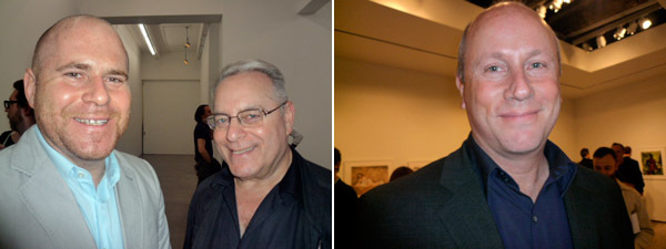 Left: Art Basel codirector Marc Spiegler with Joel Wachs, president of the Andy Warhol Visual Arts Foundation. Right: Elton John AIDS foundation director Scott Campbell.