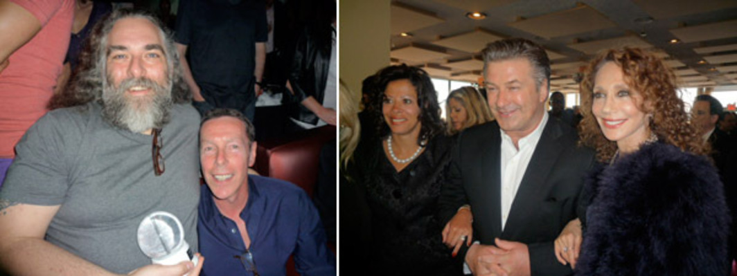 Left: Artist Nayland Blake and art historian David Deitcher. Right: Michelle Paterson, Alec Baldwin, and Marisa Berenson.